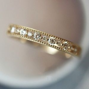 NEW 18k Yellow Gold Diamond Layered Stackable Ring